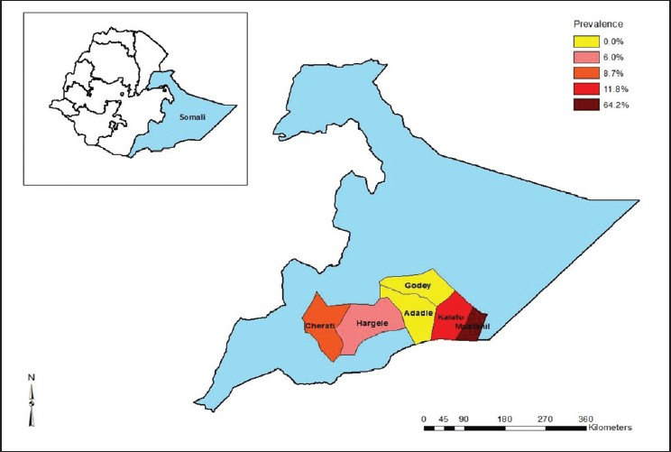 Figure 1: Distribution of <i>Schistosoma hematobium</i> in six districts of Afder and Gode zones of Somali region, Ethiopia