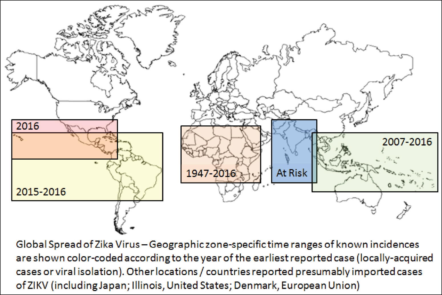 Figure 1: A schematic reconstruction of the geographic spread of the Zika virus. Note the temporal sequence of observed outbreaks, beginning with the initial events outside of Africa (e.g., Asia and Oceania) and ending with the most recent reports (e.g., South America, Mesoamerica and Southern United States)<sup>[1-17]</sup>