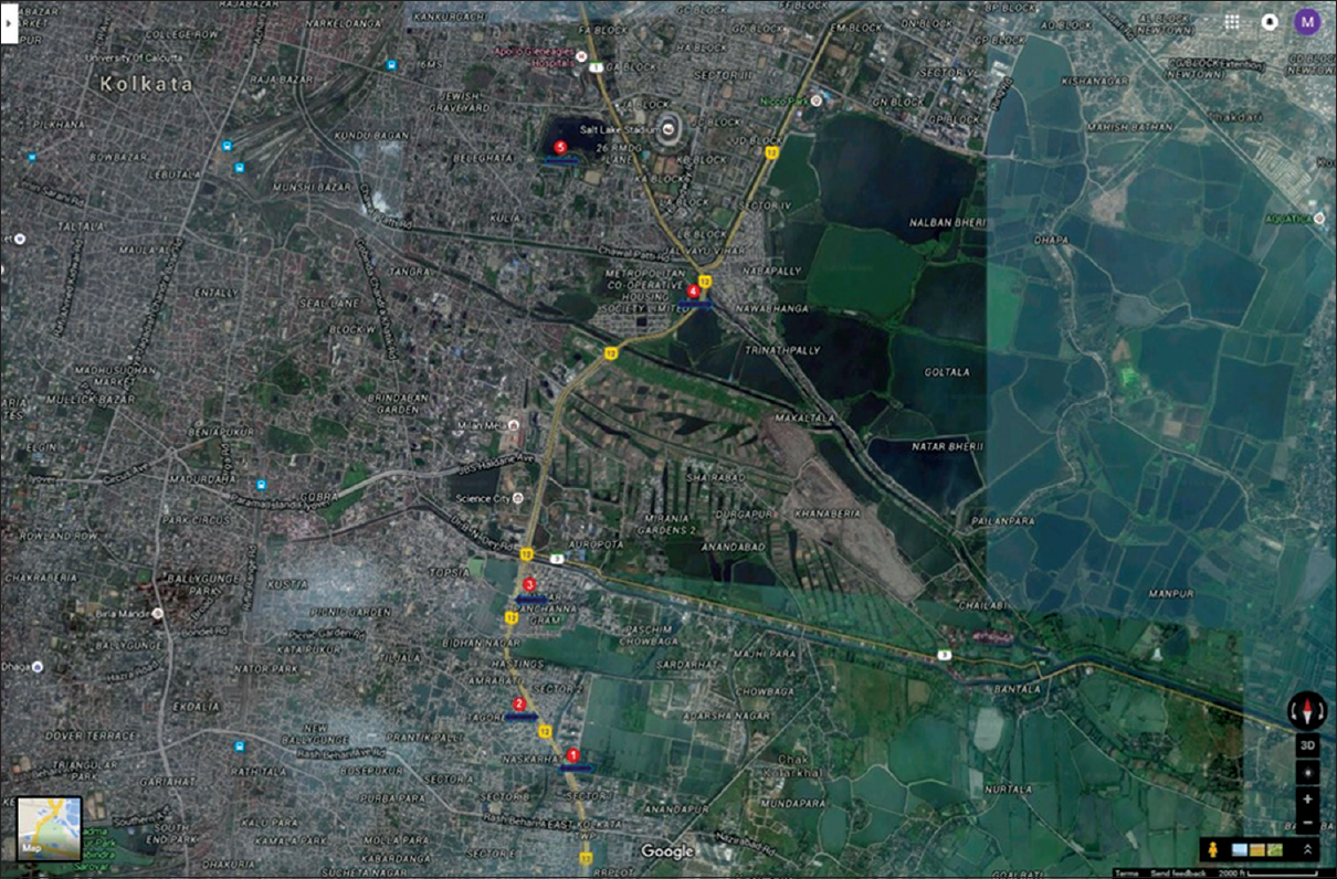 Figure 1: Map of Kolkata showing sampling sites. Sites are marked with red dot with number. Site 1: Tagore Park; Site 2: Mano Vikas, Site 3: Aykar Residency, Site 4: Chingrighata, Site 5: Subhas Sarobar. Map is obtained from Google Earth