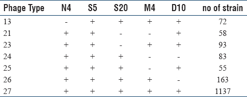 Table 2: Major Phage type classification based upon sensitivity to phages N4, S5, S20, M4 and D10. (+) indicates sensitive to specific phage, (-) indicates resistance to specific phage